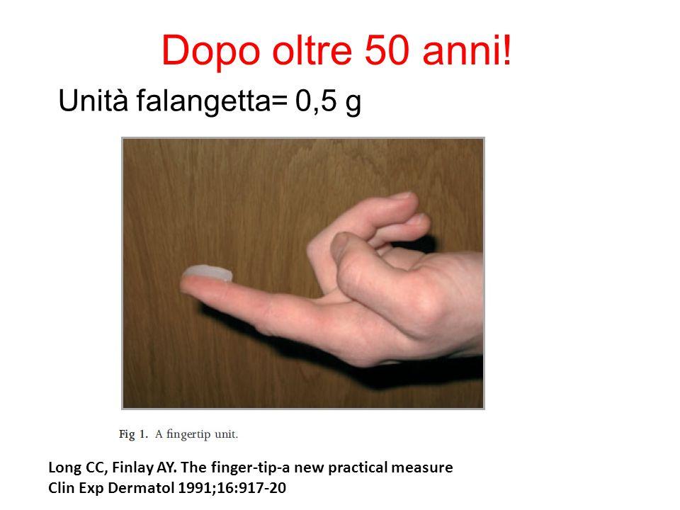 Dopo oltre 50 anni! Unità falangetta= 0,5 g Long CC, Finlay AY. The finger-tip-a new practical measure Clin Exp Dermatol 1991;16:917-20