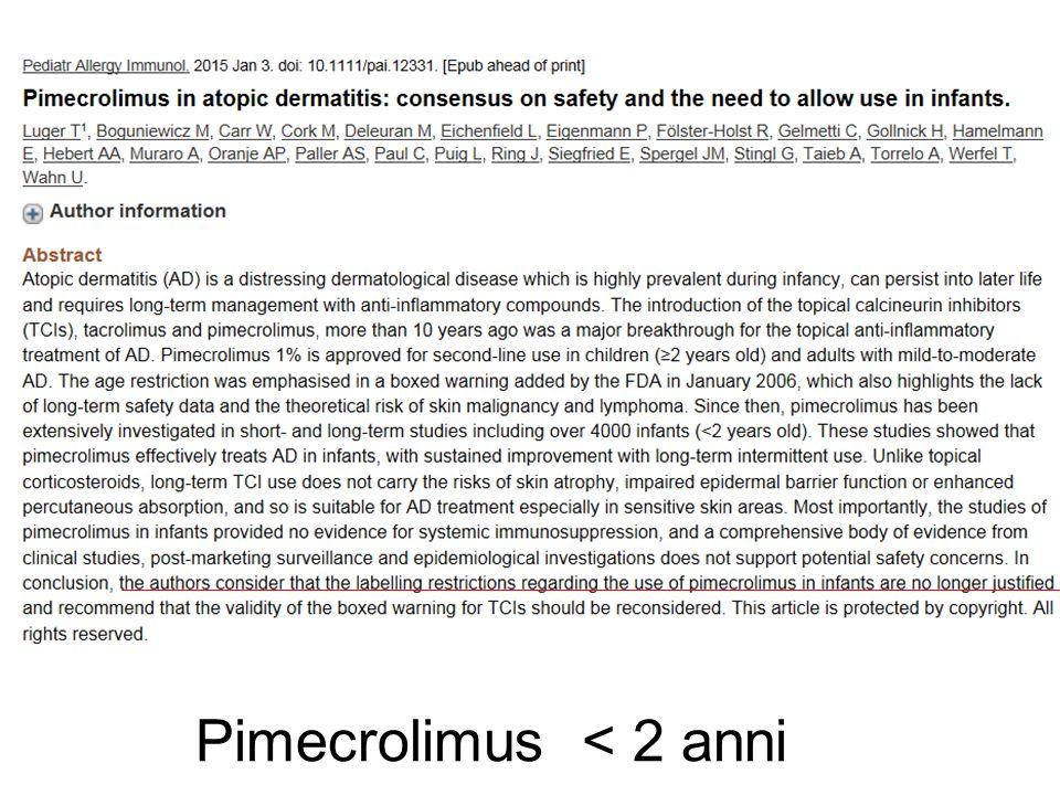 Pimecrolimus < 2 anni