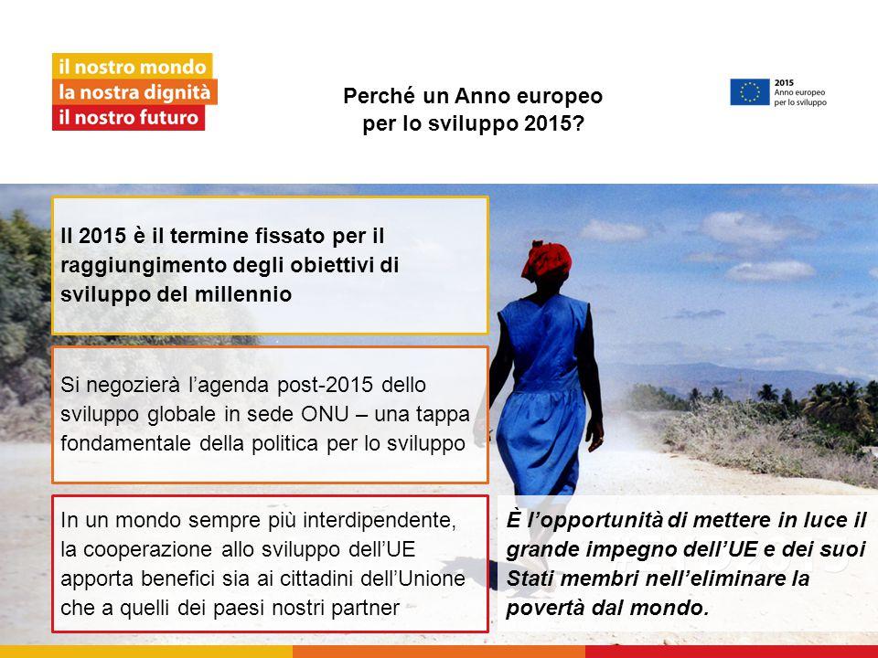 Perché un Anno europeo per lo sviluppo 2015? È l'opportunità di mettere in luce il grande impegno dell'UE e dei suoi Stati membri nell'eliminare la po