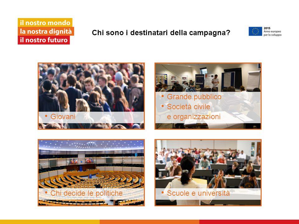 Chi sono i destinatari della campagna? Giovani Chi decide le politiche Grande pubblico Società civile e organizzazioni Scuole e università