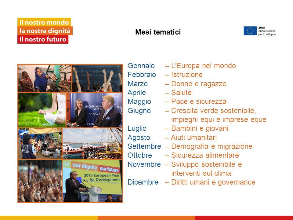Gennaio – L'Europa nel mondo Febbraio – Istruzione Marzo – Donne e ragazze Aprile – Salute Maggio – Pace e sicurezza Giugno – Crescita verde sostenibi