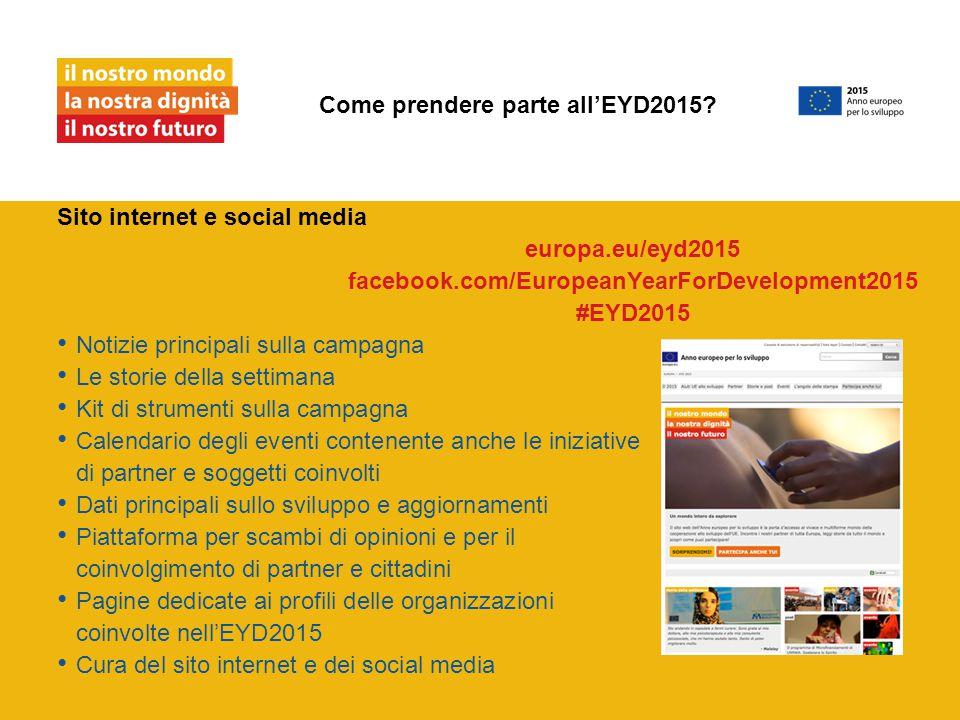 Sito internet e social media Notizie principali sulla campagna Le storie della settimana Kit di strumenti sulla campagna Calendario degli eventi contenente anche le iniziative di partner e soggetti coinvolti Dati principali sullo sviluppo e aggiornamenti Piattaforma per scambi di opinioni e per il coinvolgimento di partner e cittadini Pagine dedicate ai profili delle organizzazioni coinvolte nell'EYD2015 Cura del sito internet e dei social media Come prendere parte all'EYD2015.