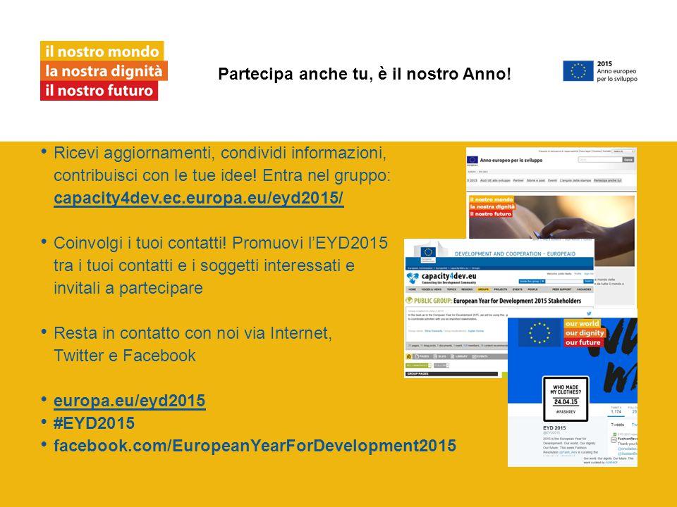 Ricevi aggiornamenti, condividi informazioni, contribuisci con le tue idee! Entra nel gruppo: capacity4dev.ec.europa.eu/eyd2015/ capacity4dev.ec.europ