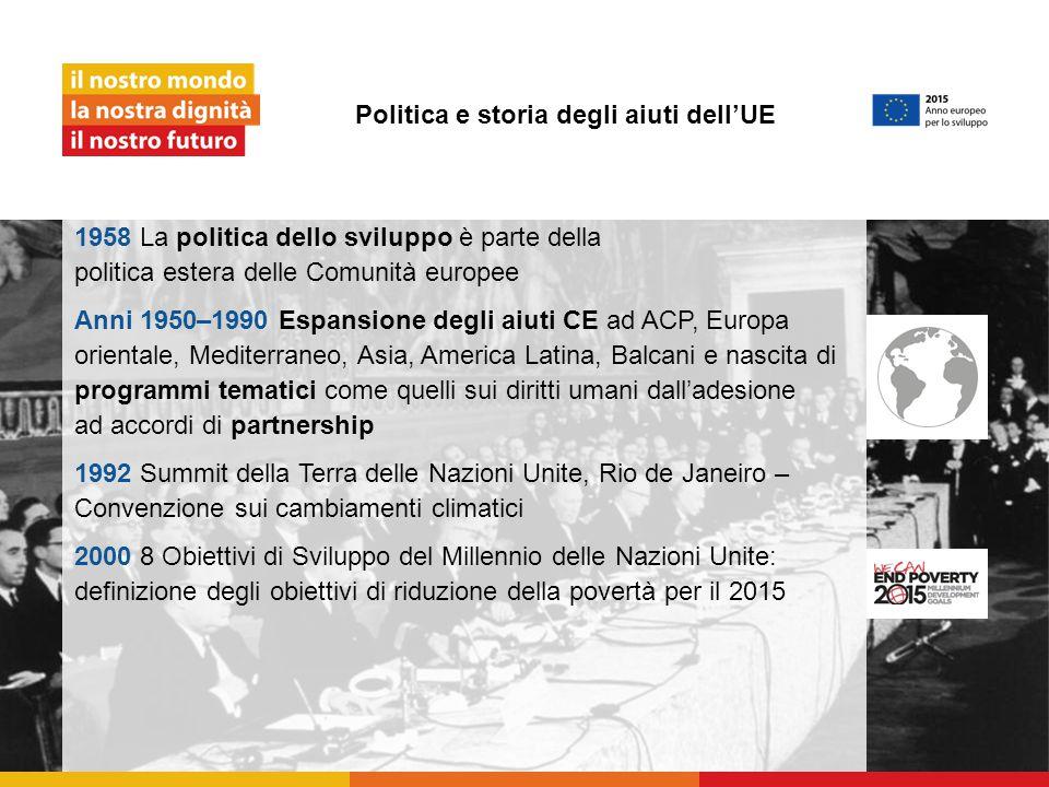 Politica e storia degli aiuti dell'UE 1958 La politica dello sviluppo è parte della politica estera delle Comunità europee Anni 1950–1990 Espansione d