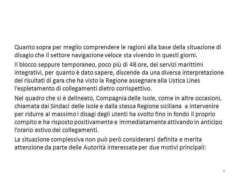 1.la vicenda Ustica Lines-Regione non è ancora definita.