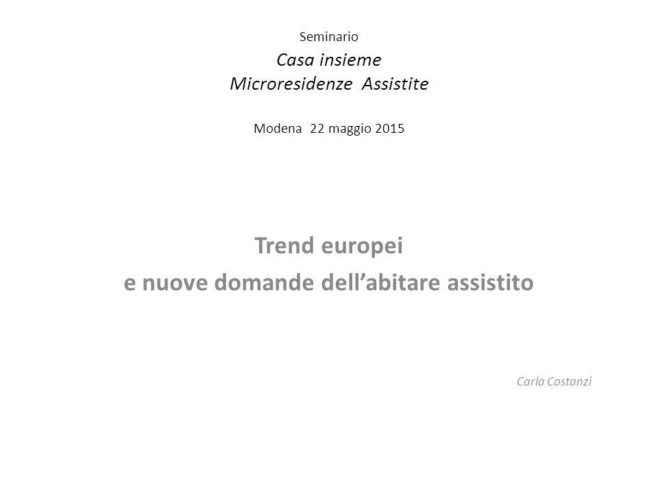 Seminario Casa insieme Microresidenze Assistite Modena 22 maggio 2015 Trend europei e nuove domande dell'abitare assistito Carla Costanzi