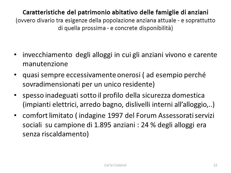 Caratteristiche del patrimonio abitativo delle famiglie di anziani (ovvero divario tra esigenze della popolazione anziana attuale - e soprattutto di q