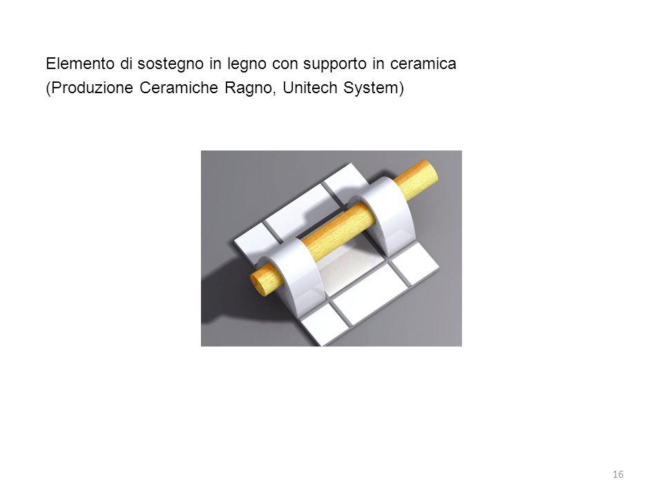16 Elemento di sostegno in legno con supporto in ceramica (Produzione Ceramiche Ragno, Unitech System)