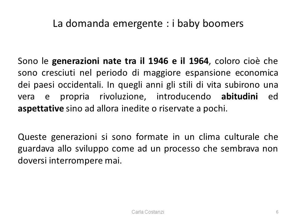 La domanda emergente : i baby boomers Sono le generazioni nate tra il 1946 e il 1964, coloro cioè che sono cresciuti nel periodo di maggiore espansione economica dei paesi occidentali.
