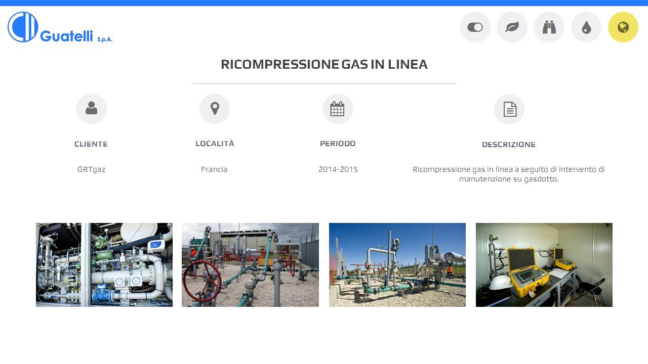 RICOMPRESSIONE GAS IN LINEA GRTgazFrancia2014-2015 CLIENTE LOCALITÀPERIODO Ricompressione gas in linea a seguito di intervento di manutenzione su gasdotto.