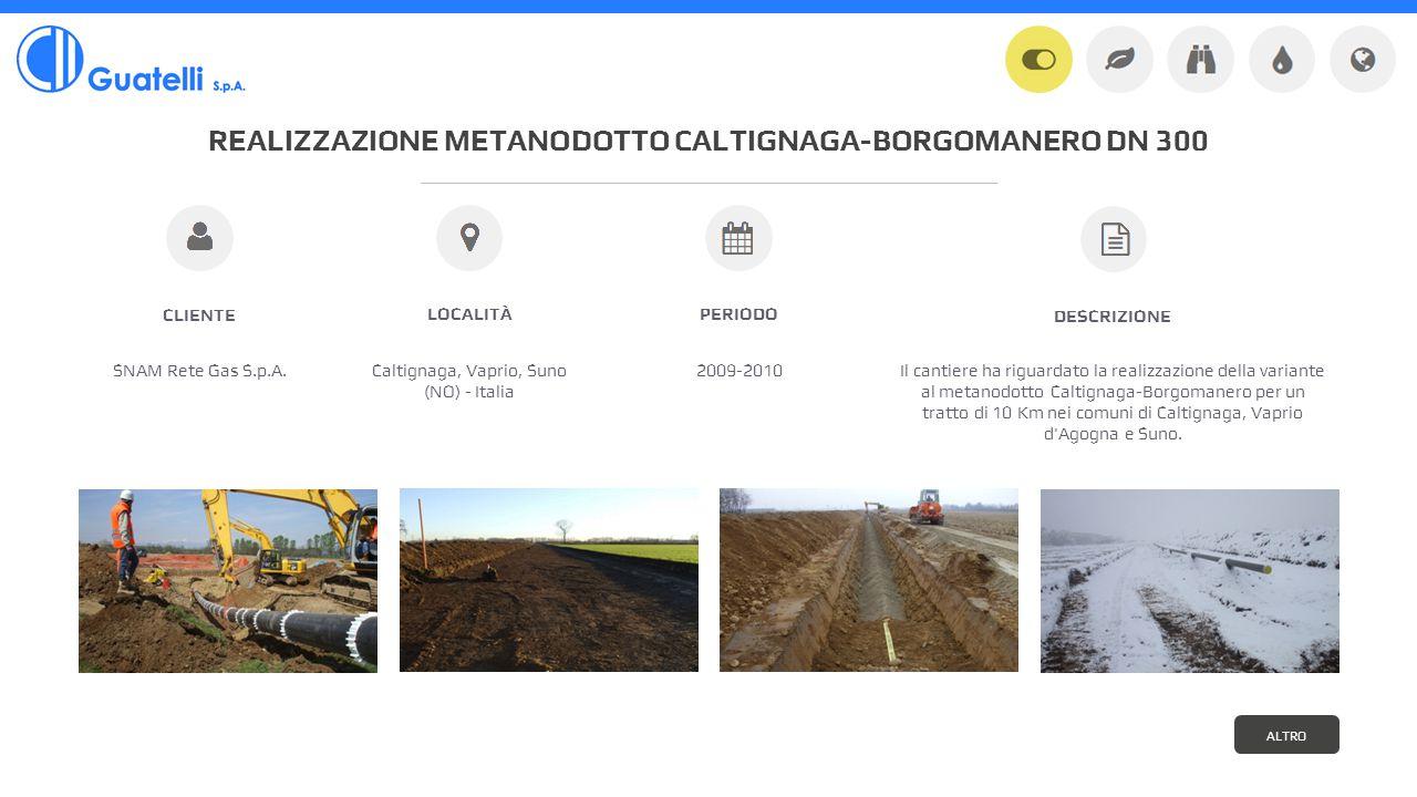 REALIZZAZIONE METANODOTTO CALTIGNAGA-BORGOMANERO DN 300 SNAM Rete Gas S.p.A.Caltignaga, Vaprio, Suno (NO) - Italia 2009-2010 CLIENTE LOCALITÀPERIODO Il cantiere ha riguardato la realizzazione della variante al metanodotto Caltignaga-Borgomanero per un tratto di 10 Km nei comuni di Caltignaga, Vaprio d Agogna e Suno.