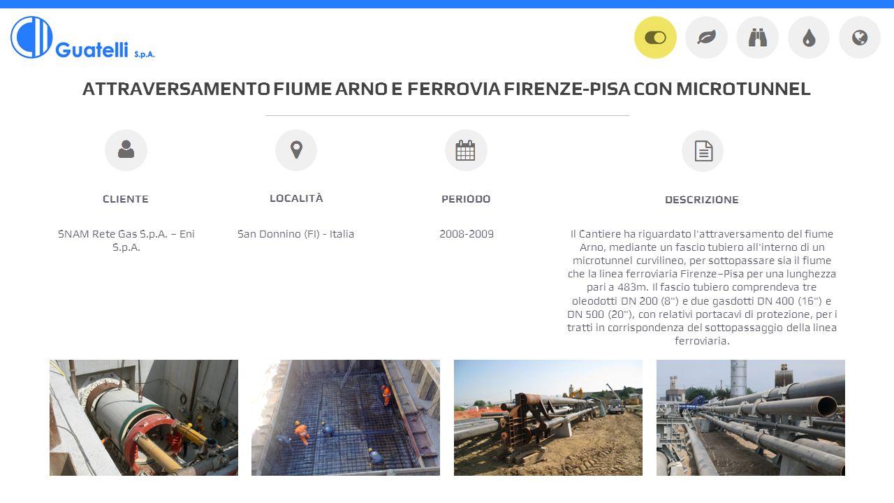 ATTRAVERSAMENTO FIUME ARNO E FERROVIA FIRENZE-PISA CON MICROTUNNEL SNAM Rete Gas S.p.A.