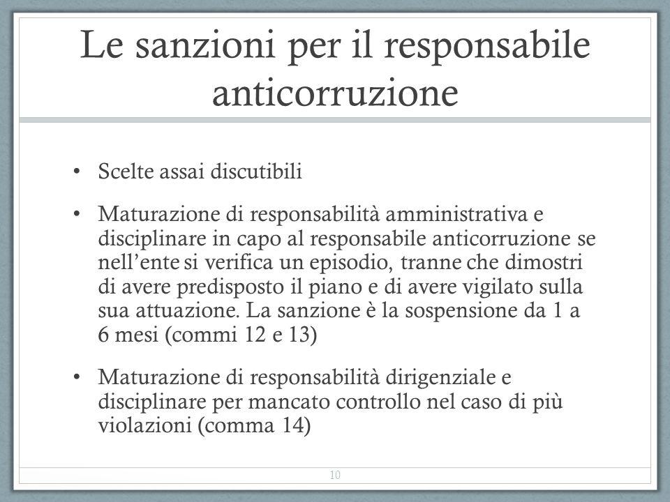 Le sanzioni per il responsabile anticorruzione Scelte assai discutibili Maturazione di responsabilità amministrativa e disciplinare in capo al respons