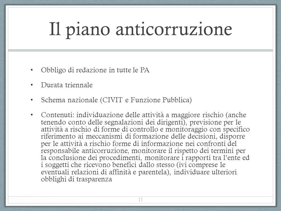 Il piano anticorruzione Obbligo di redazione in tutte le PA Durata triennale Schema nazionale (CIVIT e Funzione Pubblica) Contenuti: individuazione de