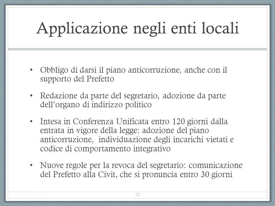 Applicazione negli enti locali Obbligo di darsi il piano anticorruzione, anche con il supporto del Prefetto Redazione da parte del segretario, adozion