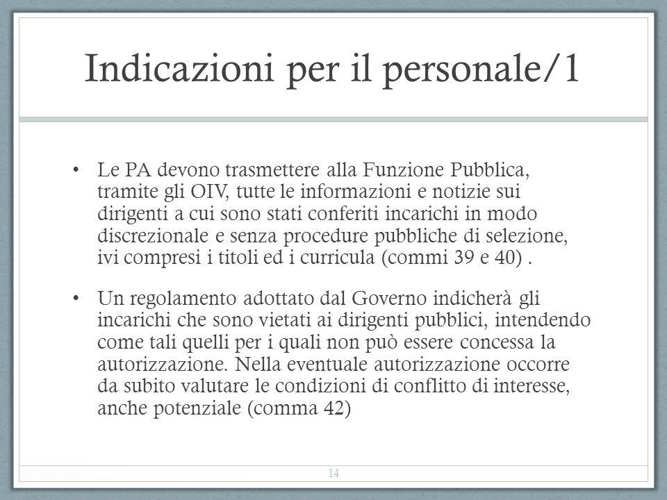 Indicazioni per il personale/1 Le PA devono trasmettere alla Funzione Pubblica, tramite gli OIV, tutte le informazioni e notizie sui dirigenti a cui s