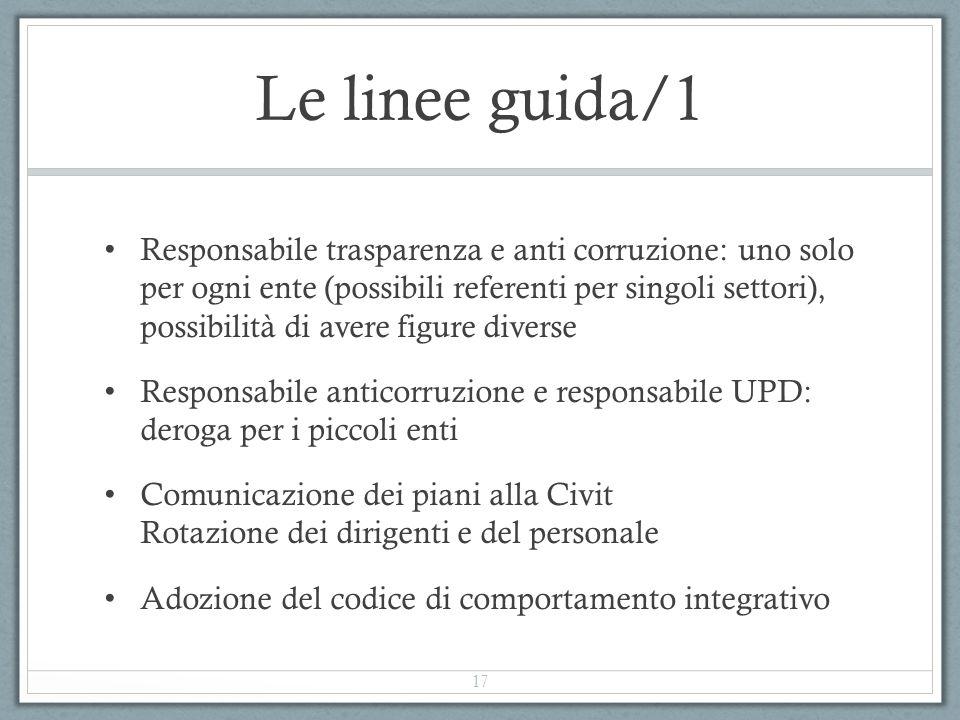 Le linee guida/1 Responsabile trasparenza e anti corruzione: uno solo per ogni ente (possibili referenti per singoli settori), possibilità di avere fi