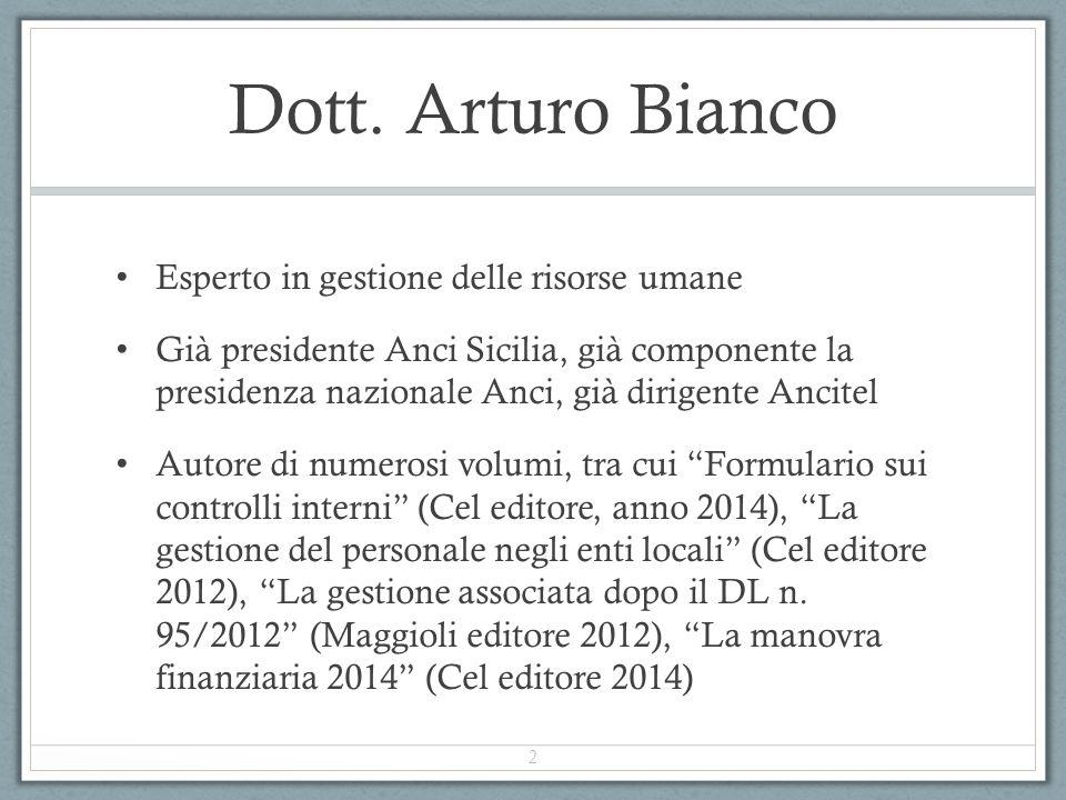Dott. Arturo Bianco Esperto in gestione delle risorse umane Già presidente Anci Sicilia, già componente la presidenza nazionale Anci, già dirigente An