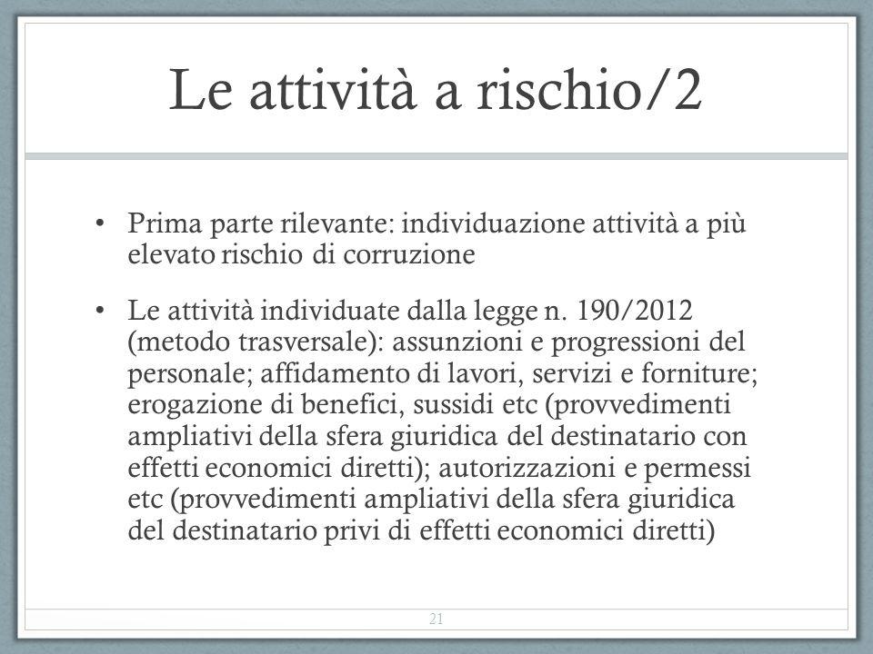Le attività a rischio/2 Prima parte rilevante: individuazione attività a più elevato rischio di corruzione Le attività individuate dalla legge n. 190/