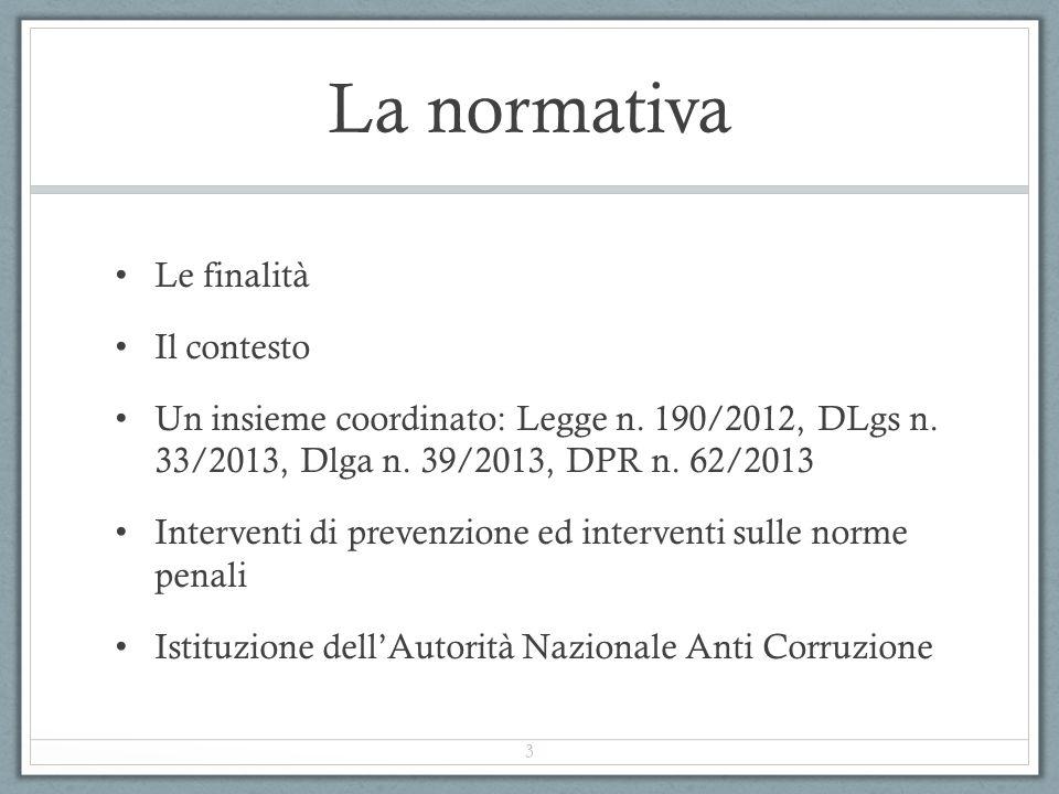 La normativa Le finalità Il contesto Un insieme coordinato: Legge n. 190/2012, DLgs n. 33/2013, Dlga n. 39/2013, DPR n. 62/2013 Interventi di prevenzi