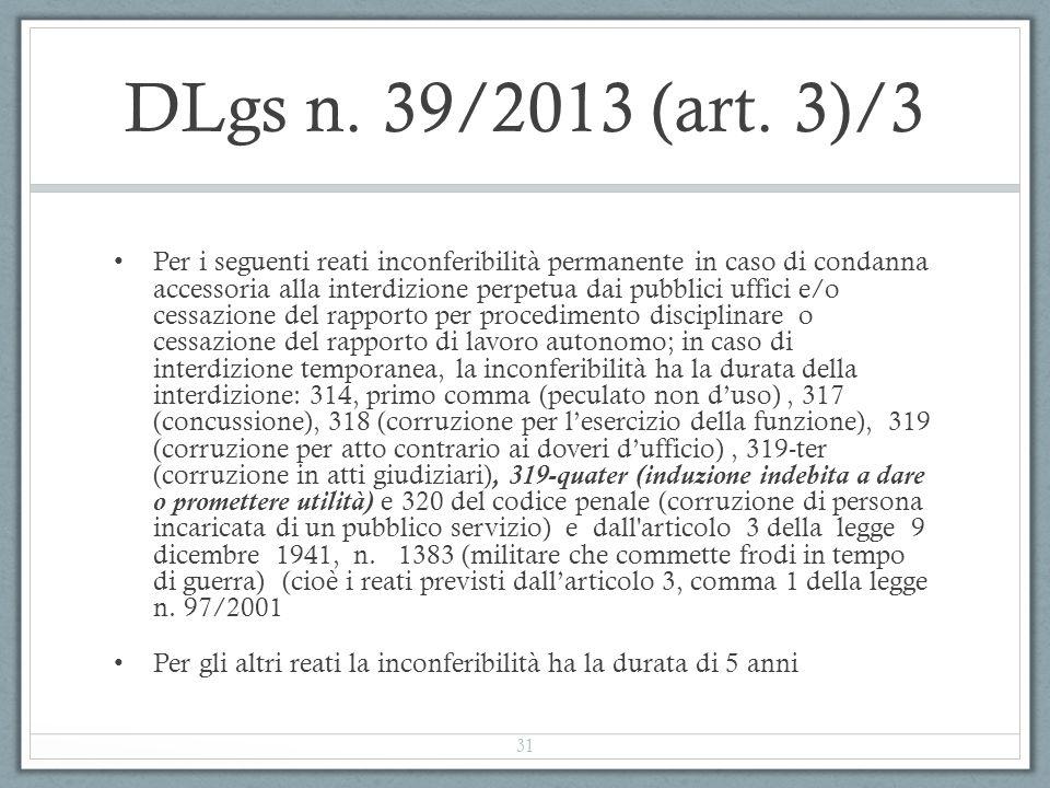DLgs n. 39/2013 (art. 3)/3 Per i seguenti reati inconferibilità permanente in caso di condanna accessoria alla interdizione perpetua dai pubblici uffi