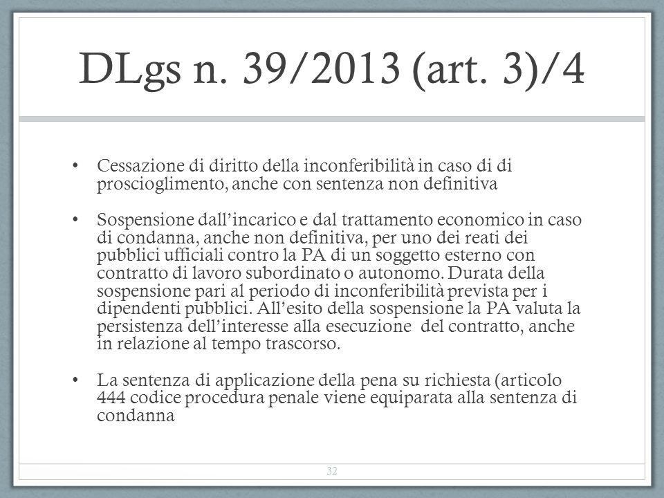 DLgs n. 39/2013 (art. 3)/4 Cessazione di diritto della inconferibilità in caso di di proscioglimento, anche con sentenza non definitiva Sospensione da