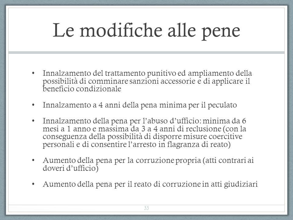 Le modifiche alle pene Innalzamento del trattamento punitivo ed ampliamento della possibilità di comminare sanzioni accessorie e di applicare il benef