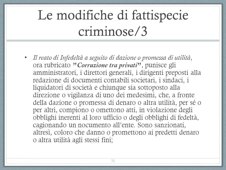 """Le modifiche di fattispecie criminose/3 Il reato di Infedeltà a seguito di dazione o promessa di utilità, ora rubricato """" Corruzione tra privati """", pu"""
