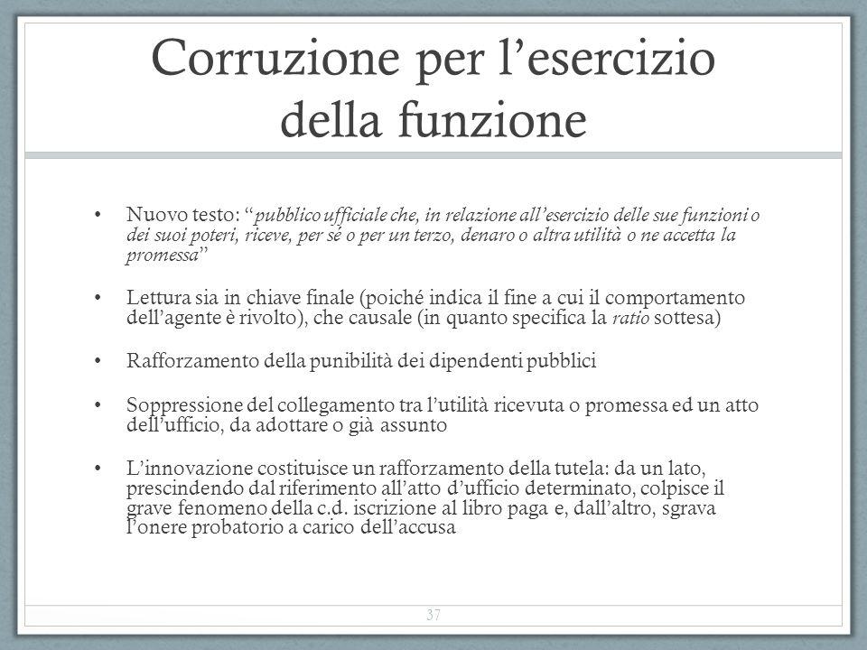 """Corruzione per l'esercizio della funzione Nuovo testo: """" pubblico ufficiale che, in relazione all'esercizio delle sue funzioni o dei suoi poteri, rice"""