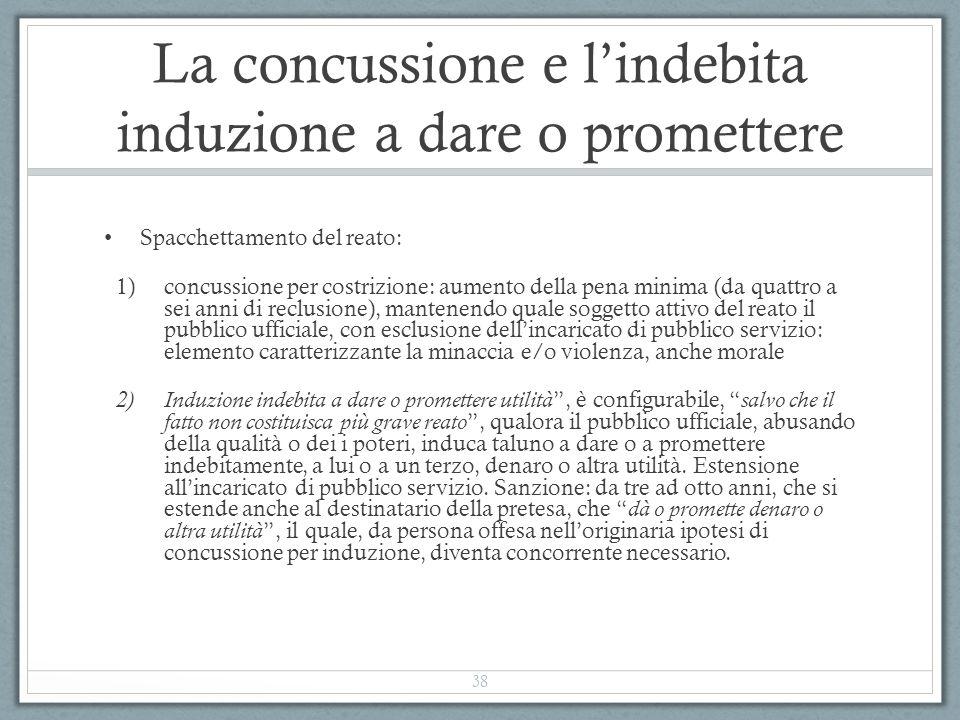 La concussione e l'indebita induzione a dare o promettere Spacchettamento del reato: 1)concussione per costrizione: aumento della pena minima (da quat
