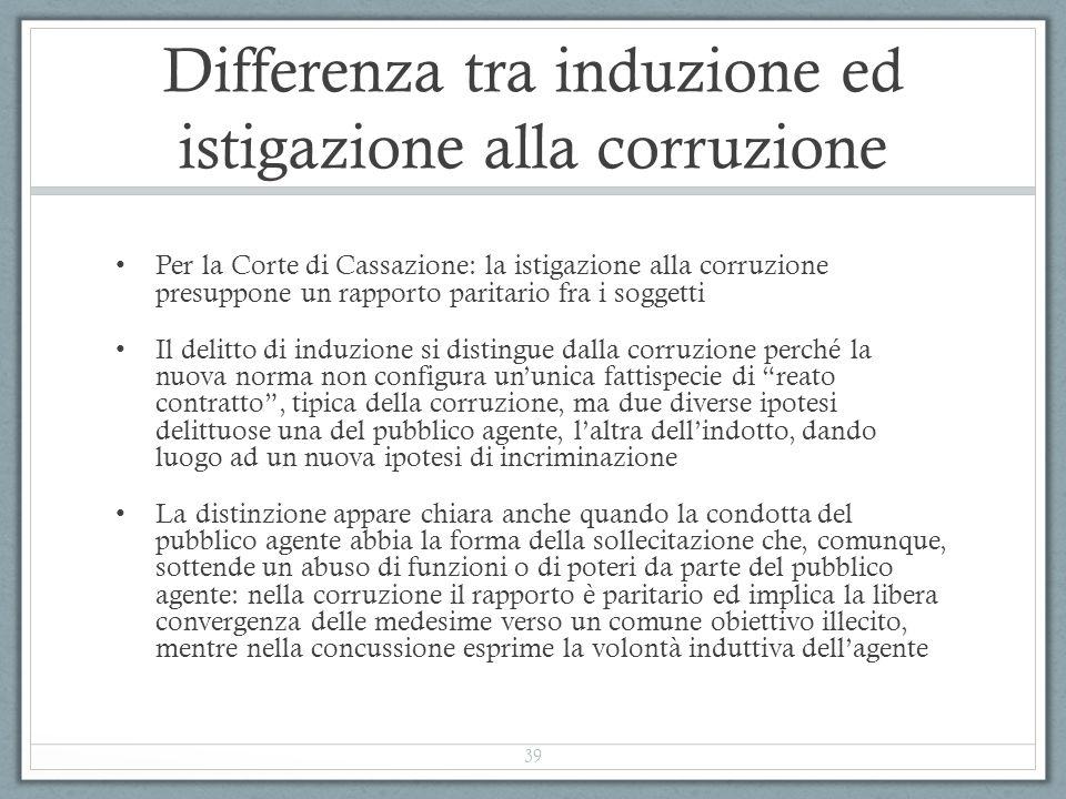 Differenza tra induzione ed istigazione alla corruzione Per la Corte di Cassazione: la istigazione alla corruzione presuppone un rapporto paritario fr