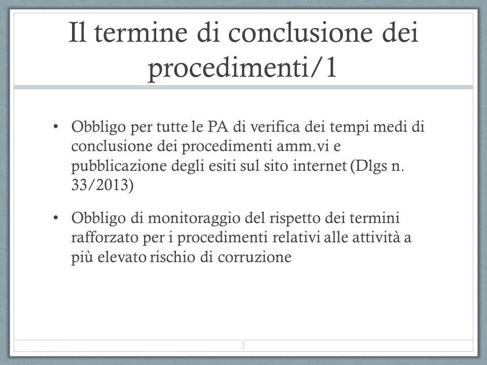 Il termine di conclusione dei procedimenti/1 Obbligo per tutte le PA di verifica dei tempi medi di conclusione dei procedimenti amm.vi e pubblicazione