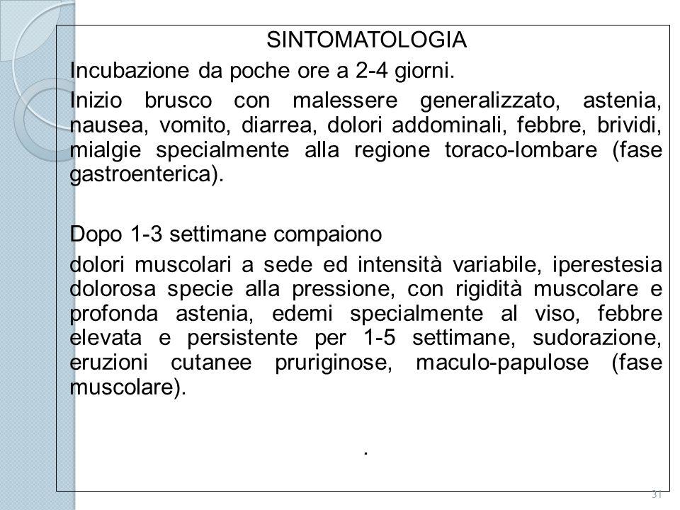 SINTOMATOLOGIA Incubazione da poche ore a 2-4 giorni.