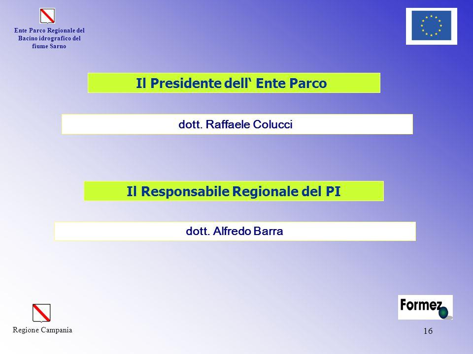 Ente Parco Regionale del Bacino idrografico del fiume Sarno Regione Campania 16 dott. Alfredo Barra Il Presidente dell' Ente Parco Il Responsabile Reg