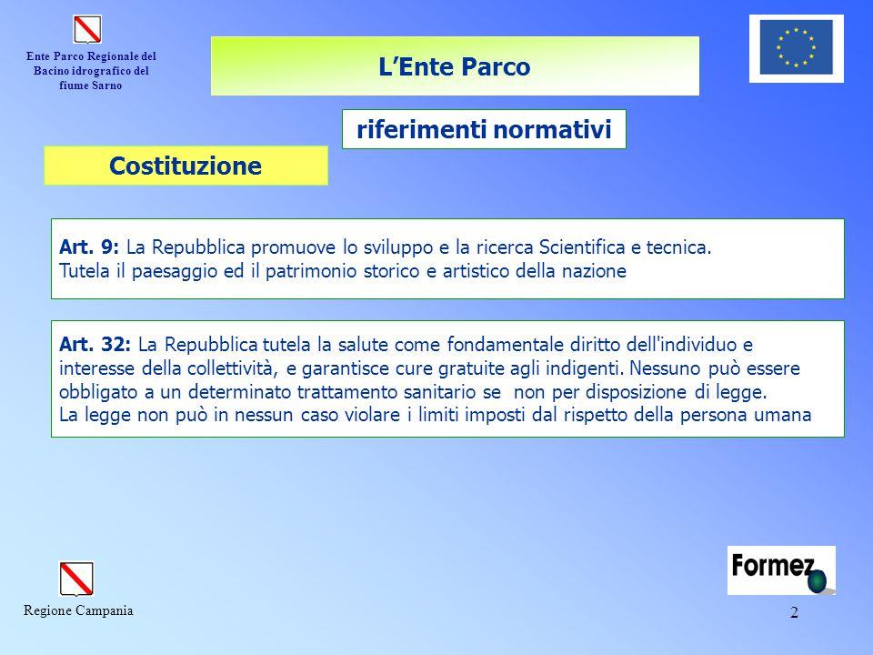 Ente Parco Regionale del Bacino idrografico del fiume Sarno Regione Campania 2 L'Ente Parco riferimenti normativi Art. 9: La Repubblica promuove lo sv