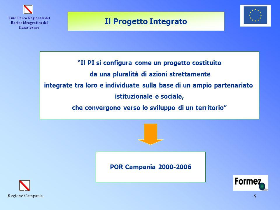 """Ente Parco Regionale del Bacino idrografico del fiume Sarno Regione Campania 5 """"Il PI si configura come un progetto costituito da una pluralità di azi"""