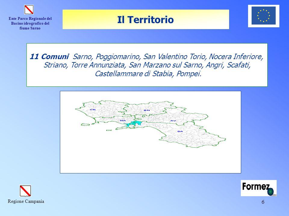 Ente Parco Regionale del Bacino idrografico del fiume Sarno Regione Campania 6 11 Comuni Sarno, Poggiomarino, San Valentino Torio, Nocera Inferiore, S