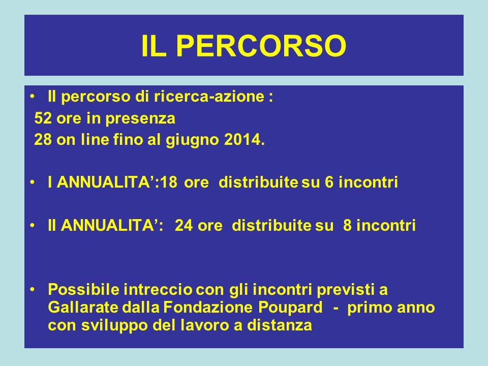 IL PERCORSO II percorso di ricerca-azione : 52 ore in presenza 28 on line fino al giugno 2014. I ANNUALITA':18 ore distribuite su 6 incontri II ANNUAL