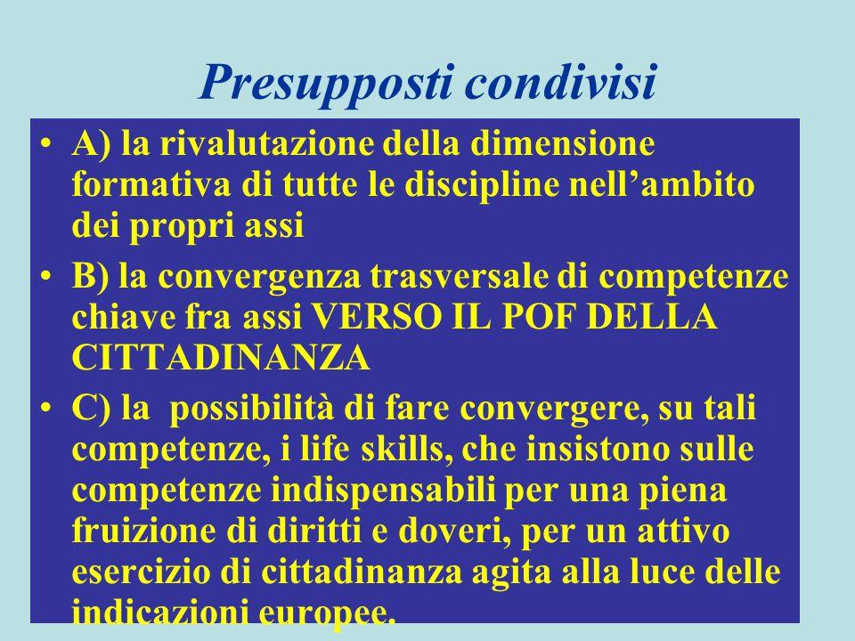 Presupposti condivisi A) la rivalutazione della dimensione formativa di tutte le discipline nell'ambito dei propri assi B) la convergenza trasversale