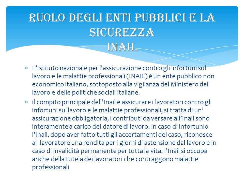  L'Istituto nazionale per l'assicurazione contro gli infortuni sul lavoro e le malattie professionali (INAIL) è un ente pubblico non economico italia
