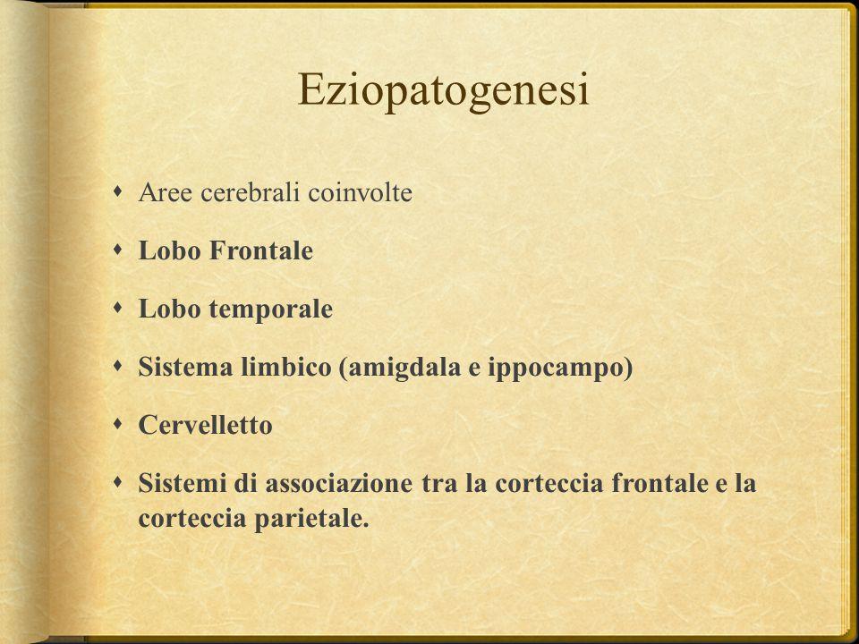 Eziopatogenesi  Aree cerebrali coinvolte  Lobo Frontale  Lobo temporale  Sistema limbico (amigdala e ippocampo)  Cervelletto  Sistemi di associa