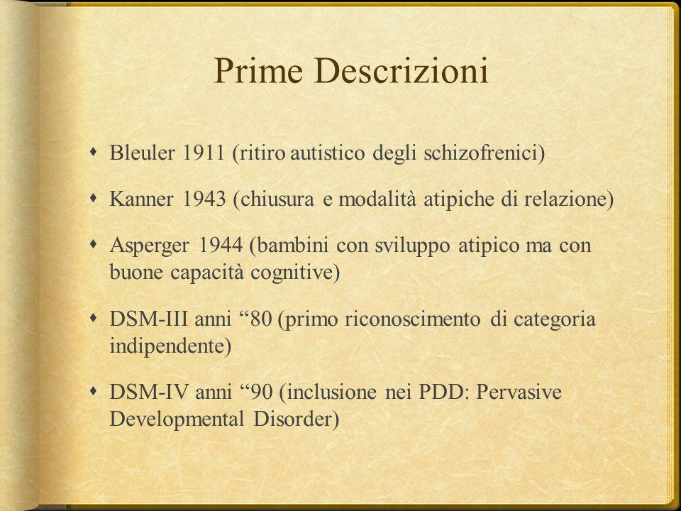 Prime Descrizioni  Bleuler 1911 (ritiro autistico degli schizofrenici)  Kanner 1943 (chiusura e modalità atipiche di relazione)  Asperger 1944 (bam
