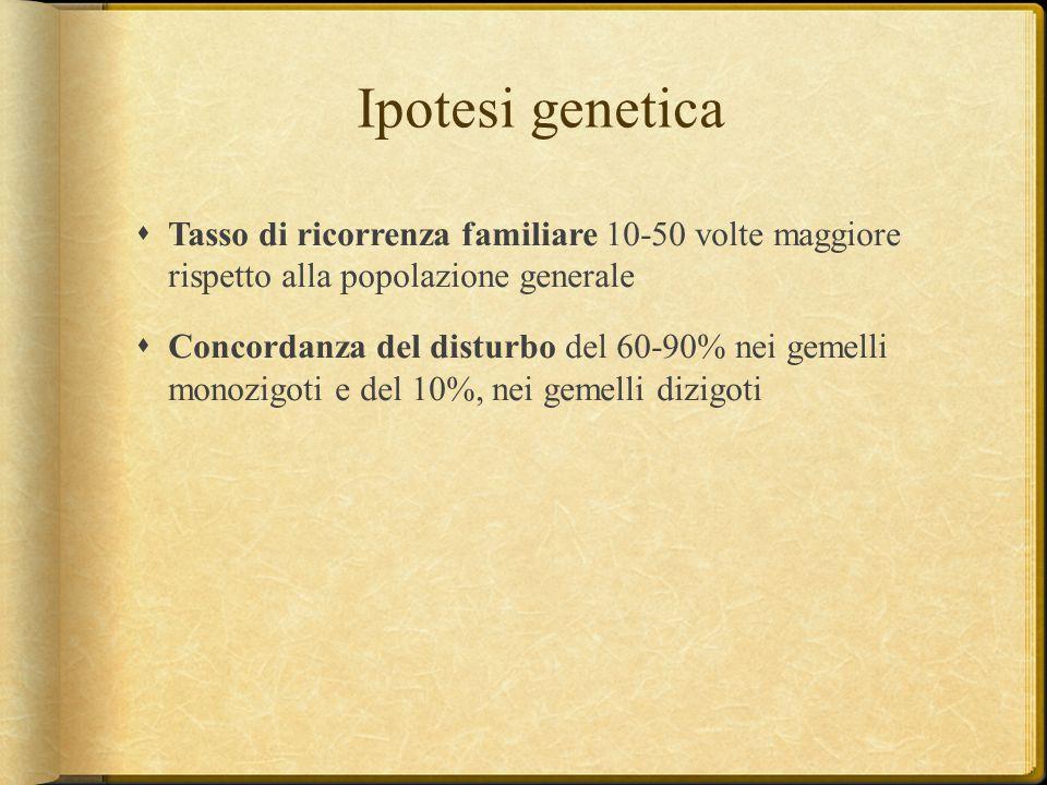Ipotesi genetica  Tasso di ricorrenza familiare 10-50 volte maggiore rispetto alla popolazione generale  Concordanza del disturbo del 60-90% nei gem