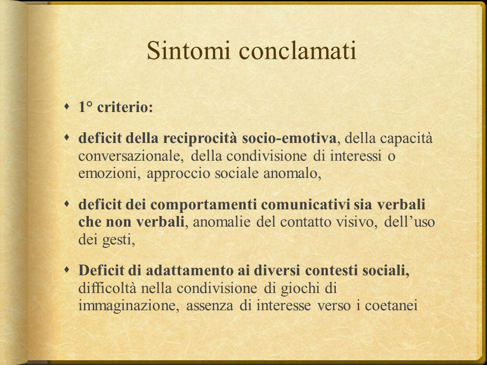 Sintomi conclamati  1° criterio:  deficit della reciprocità socio-emotiva, della capacità conversazionale, della condivisione di interessi o emozion