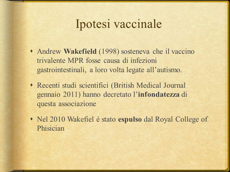 Ipotesi vaccinale  Andrew Wakefield (1998) sosteneva che il vaccino trivalente MPR fosse causa di infezioni gastrointestinali, a loro volta legate al