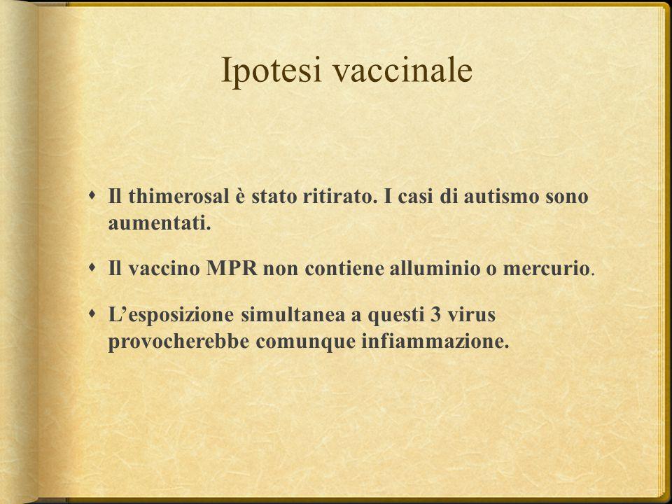 Ipotesi vaccinale  Il thimerosal è stato ritirato. I casi di autismo sono aumentati.  Il vaccino MPR non contiene alluminio o mercurio.  L'esposizi