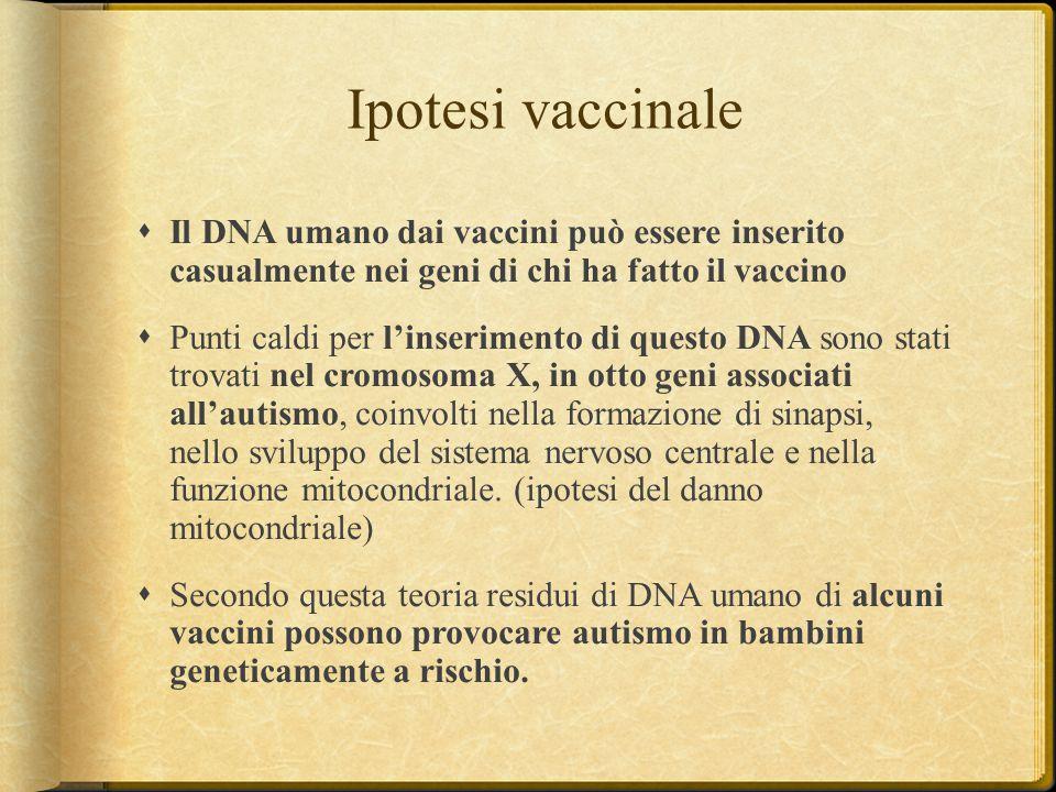 Ipotesi vaccinale  Il DNA umano dai vaccini può essere inserito casualmente nei geni di chi ha fatto il vaccino  Punti caldi per l'inserimento di qu