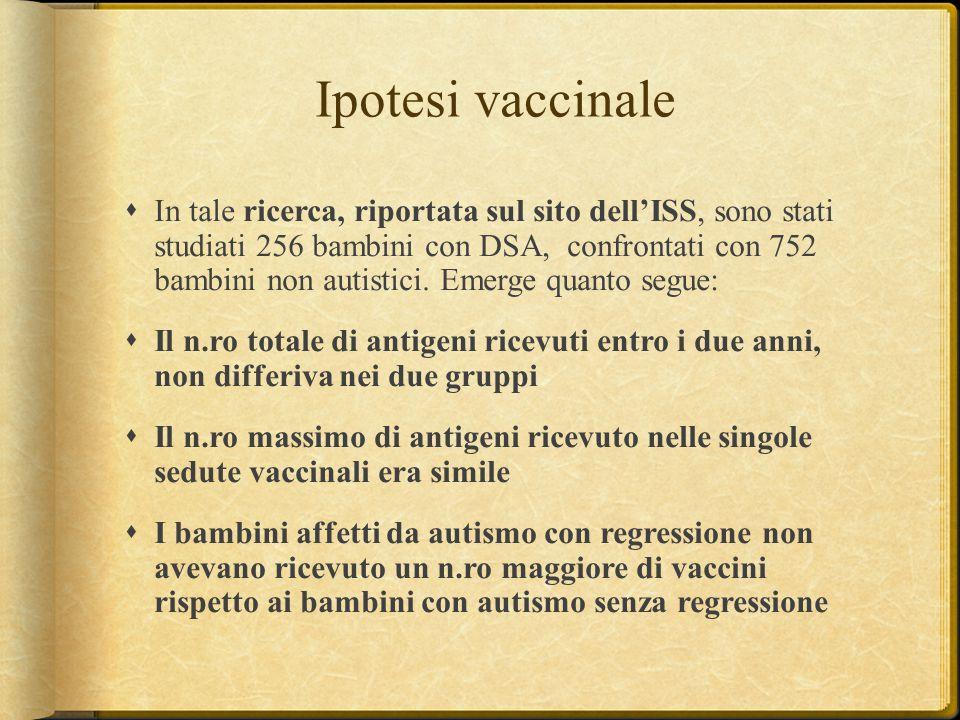 Ipotesi vaccinale  In tale ricerca, riportata sul sito dell'ISS, sono stati studiati 256 bambini con DSA, confrontati con 752 bambini non autistici.