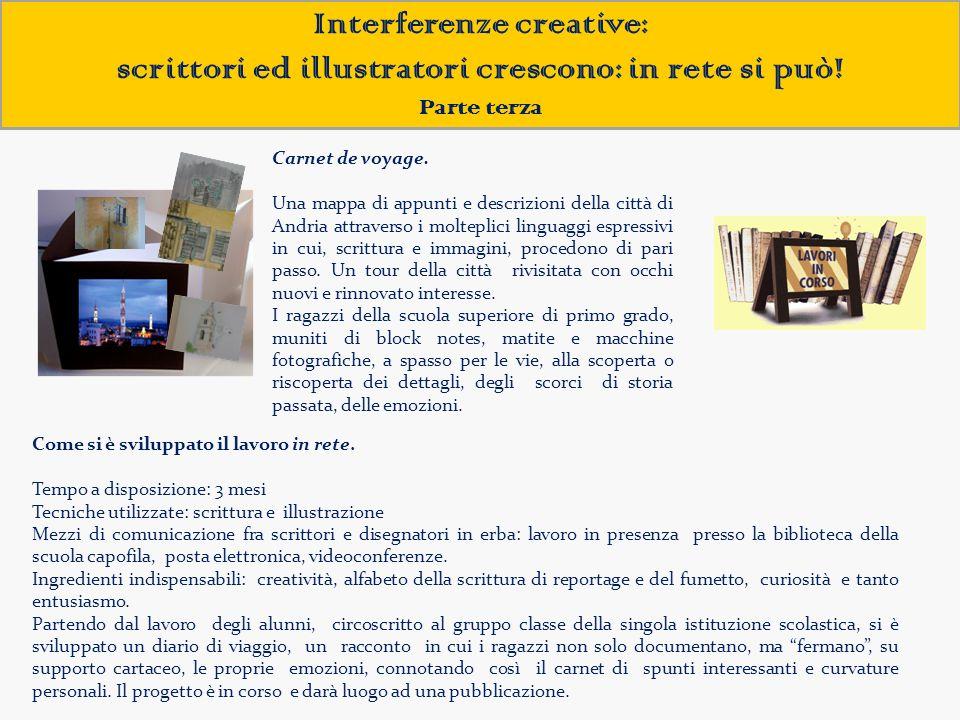 Interferenze creative: scrittori ed illustratori crescono: in rete si può! Parte terza Carnet de voyage. Una mappa di appunti e descrizioni della citt