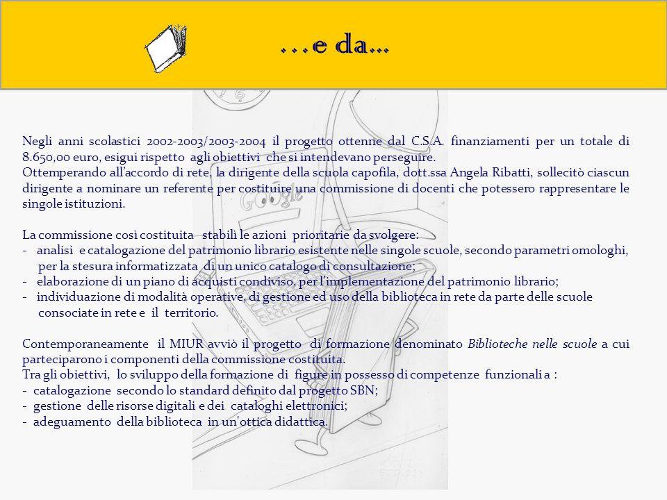 Obiettivi …e da... Negli anni scolastici 2002-2003/2003-2004 il progetto ottenne dal C.S.A. finanziamenti per un totale di 8.650,00 euro, esigui rispe